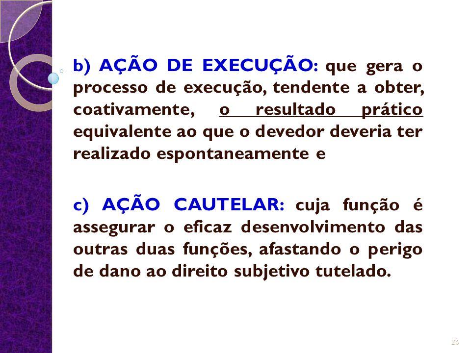 b) AÇÃO DE EXECUÇÃO: que gera o processo de execução, tendente a obter, coativamente, o resultado prático equivalente ao que o devedor deveria ter rea