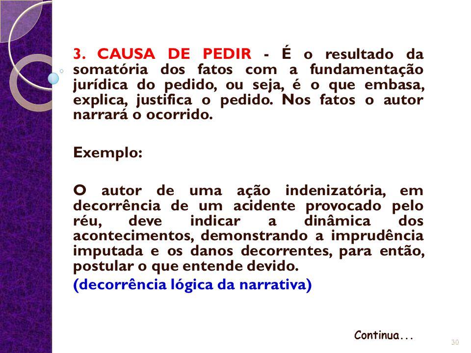 3. CAUSA DE PEDIR - É o resultado da somatória dos fatos com a fundamentação jurídica do pedido, ou seja, é o que embasa, explica, justifica o pedido.