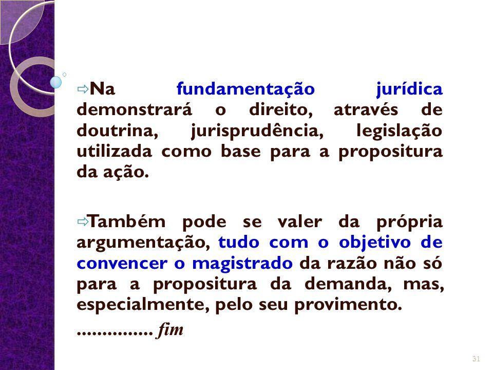  Na fundamentação jurídica demonstrará o direito, através de doutrina, jurisprudência, legislação utilizada como base para a propositura da ação.  T