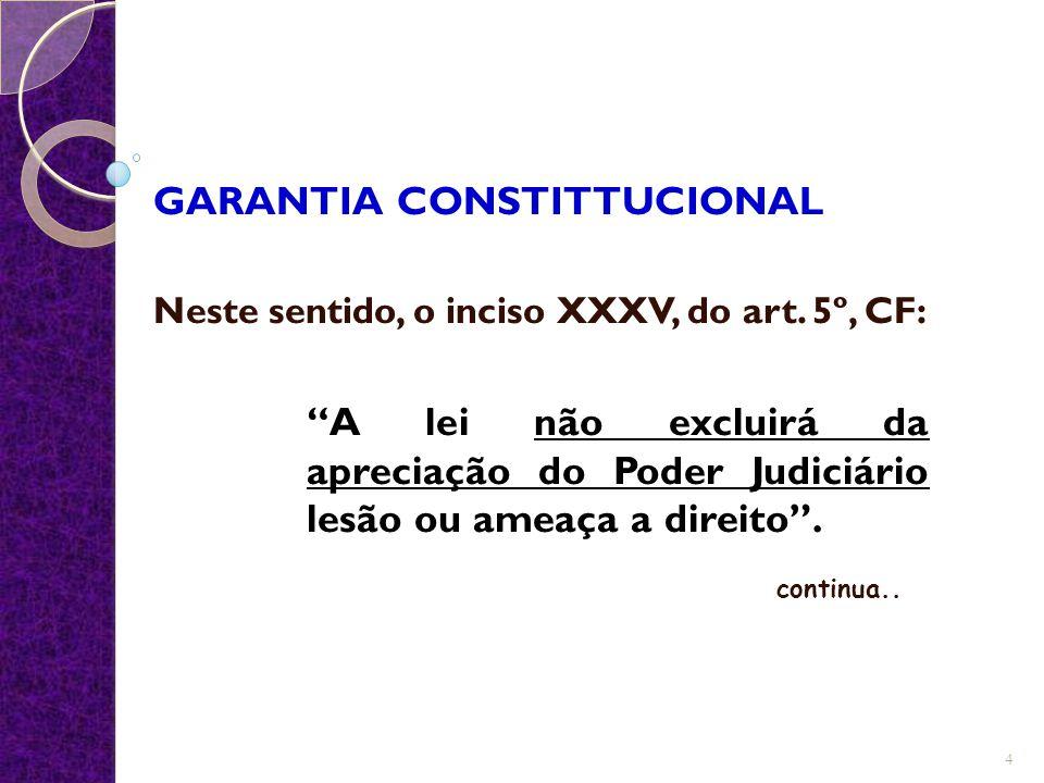 """GARANTIA CONSTITTUCIONAL Neste sentido, o inciso XXXV, do art. 5º, CF: """"A lei não excluirá da apreciação do Poder Judiciário lesão ou ameaça a direito"""