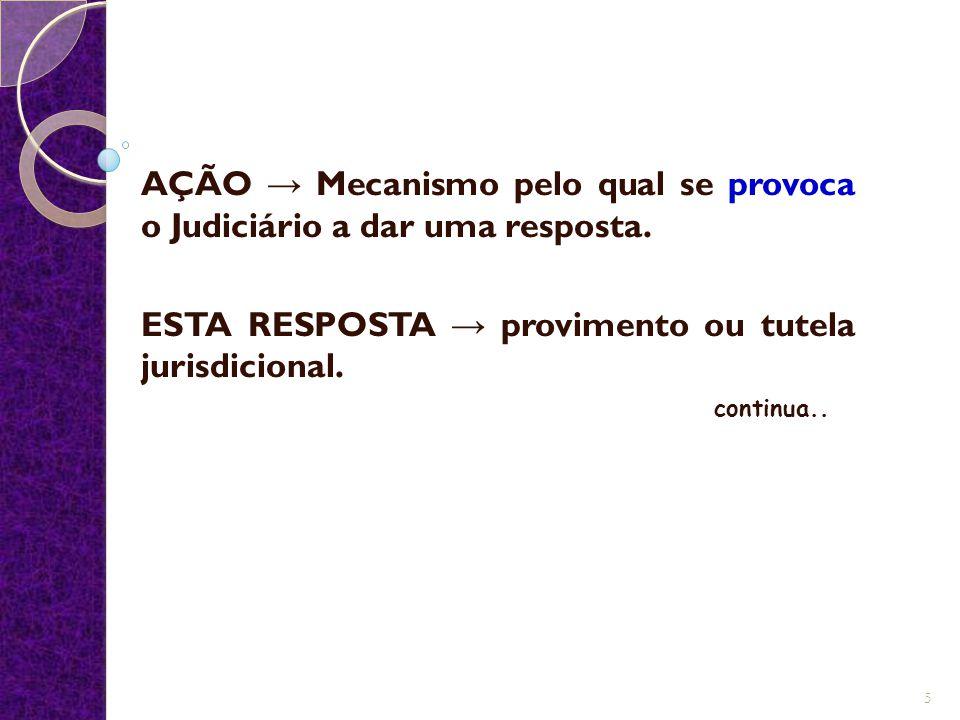 AÇÃO → Mecanismo pelo qual se provoca o Judiciário a dar uma resposta. ESTA RESPOSTA → provimento ou tutela jurisdicional. continua.. 5