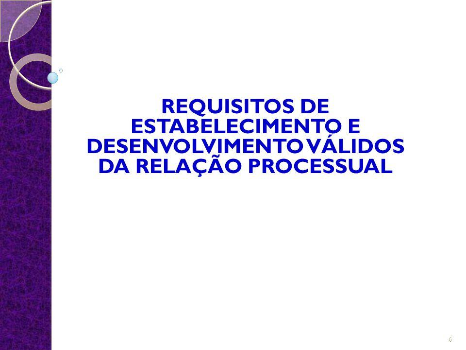 REQUISITOS DE ESTABELECIMENTO E DESENVOLVIMENTO VÁLIDOS DA RELAÇÃO PROCESSUAL 6