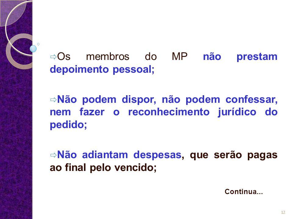  Os membros do MP não prestam depoimento pessoal;  Não podem dispor, não podem confessar, nem fazer o reconhecimento jurídico do pedido;  Não adian