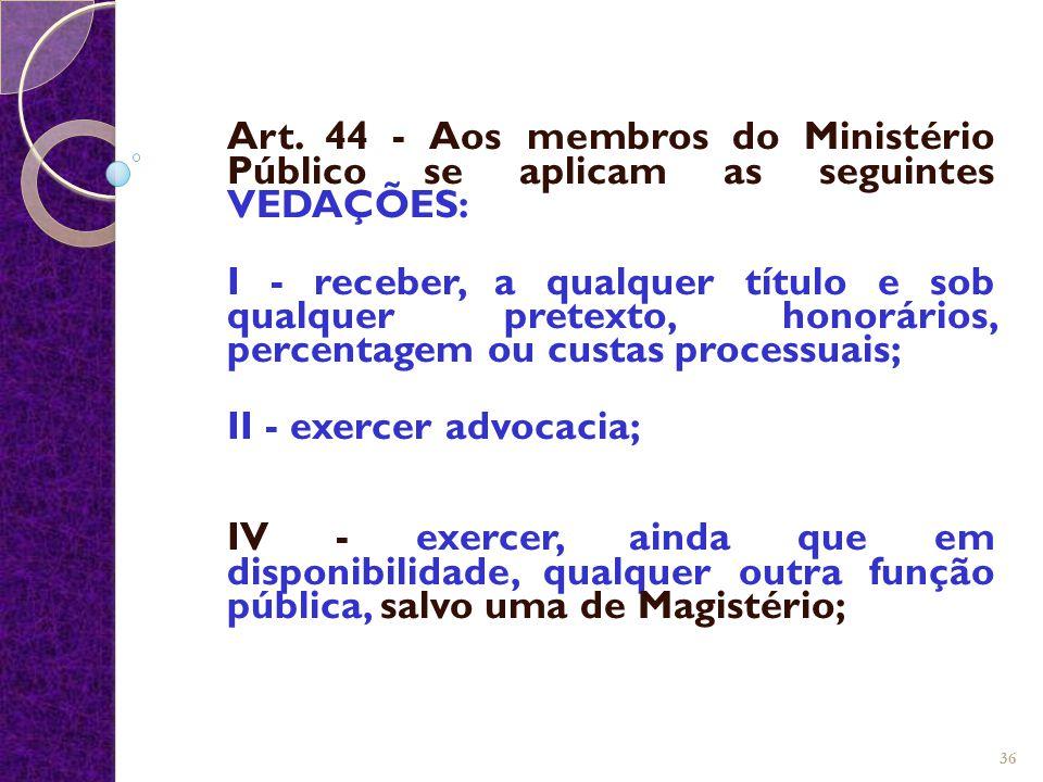 Art. 44 - Aos membros do Ministério Público se aplicam as seguintes VEDAÇÕES: I - receber, a qualquer título e sob qualquer pretexto, honorários, perc