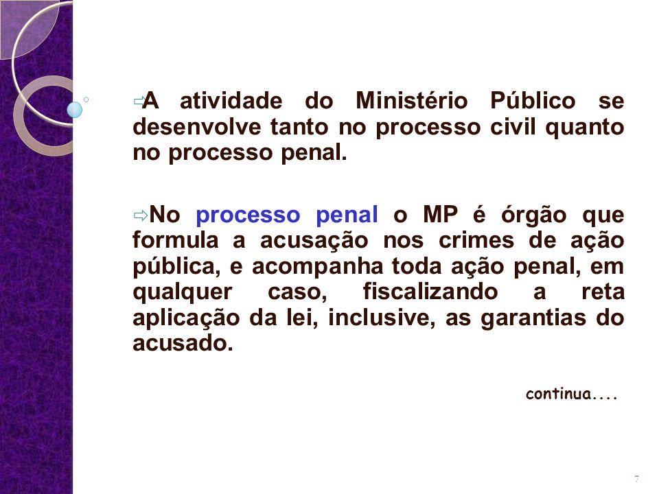  A atividade do Ministério Público se desenvolve tanto no processo civil quanto no processo penal.  No processo penal o MP é órgão que formula a acu