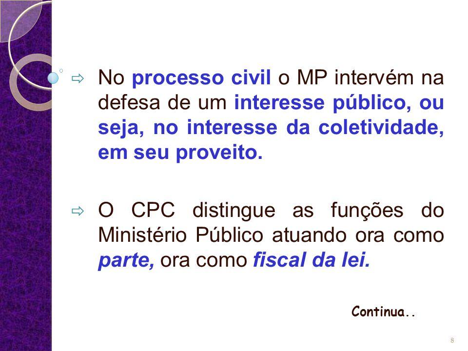 No processo civil o MP intervém na defesa de um interesse público, ou seja, no interesse da coletividade, em seu proveito.  O CPC distingue as funç