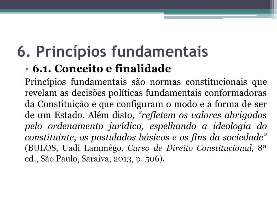 6. Princípios fundamentais 6.1. Conceito e finalidade Princípios fundamentais são normas constitucionais que revelam as decisões políticas fundamentai