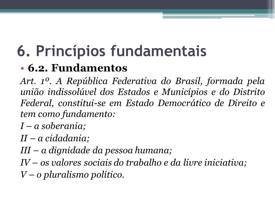 6. Princípios fundamentais 6.2. Fundamentos Art. 1º. A República Federativa do Brasil, formada pela união indissolúvel dos Estados e Municípios e do D