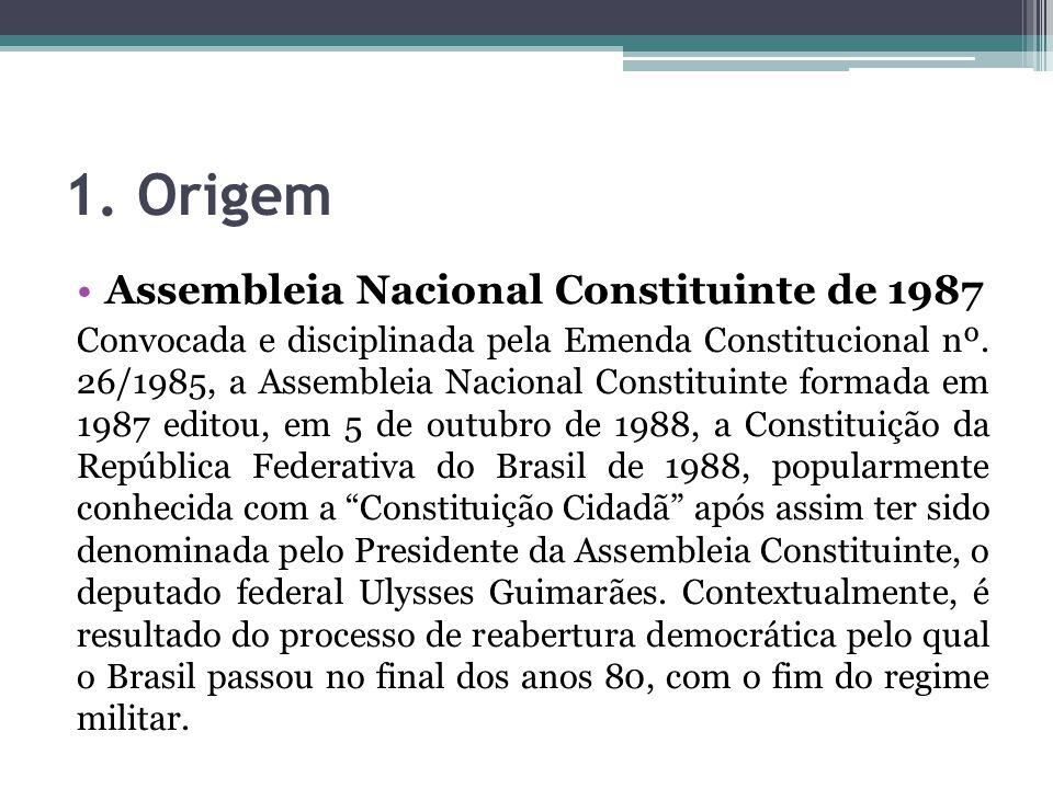 1. Origem Assembleia Nacional Constituinte de 1987 Convocada e disciplinada pela Emenda Constitucional nº. 26/1985, a Assembleia Nacional Constituinte