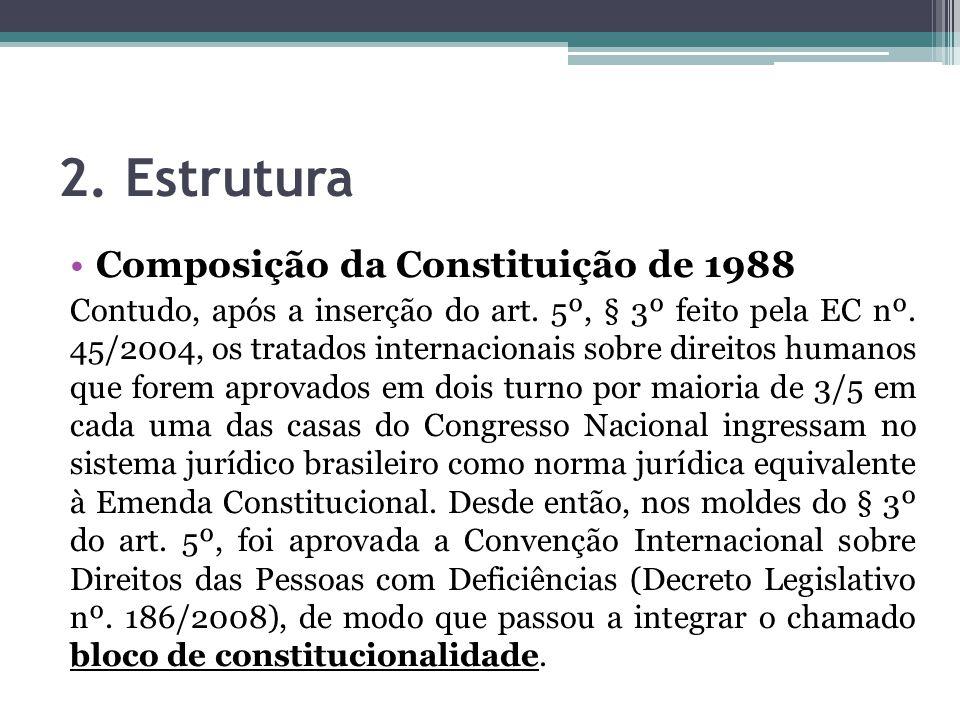 2. Estrutura Composição da Constituição de 1988 Contudo, após a inserção do art. 5º, § 3º feito pela EC nº. 45/2004, os tratados internacionais sobre