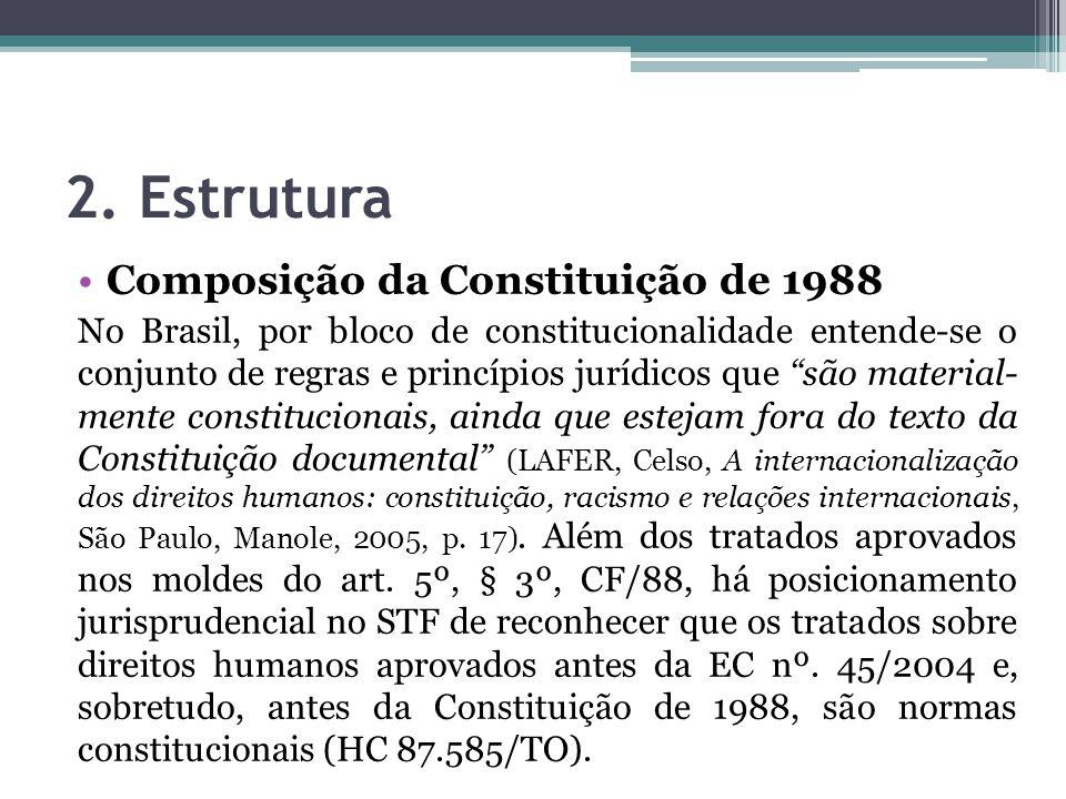 2. Estrutura Composição da Constituição de 1988 No Brasil, por bloco de constitucionalidade entende-se o conjunto de regras e princípios jurídicos que