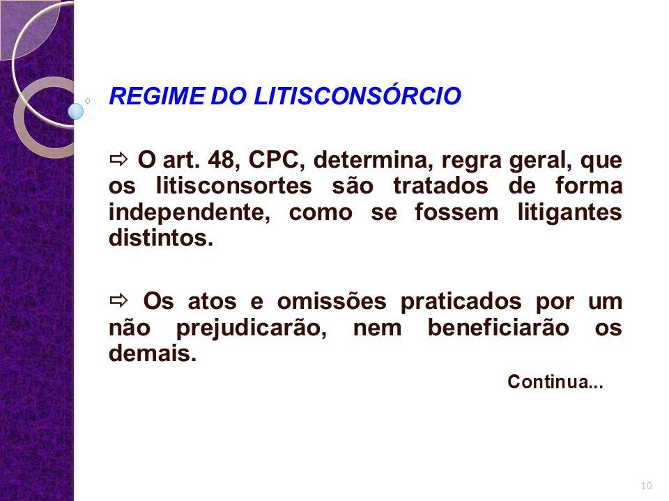 REGIME DO LITISCONSÓRCIO  O art. 48, CPC, determina, regra geral, que os litisconsortes são tratados de forma independente, como se fossem litigantes
