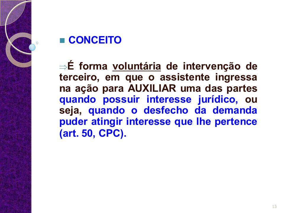 CONCEITO  É forma voluntária de intervenção de terceiro, em que o assistente ingressa na ação para AUXILIAR uma das partes quando possuir interesse jurídico, ou seja, quando o desfecho da demanda puder atingir interesse que lhe pertence (art.