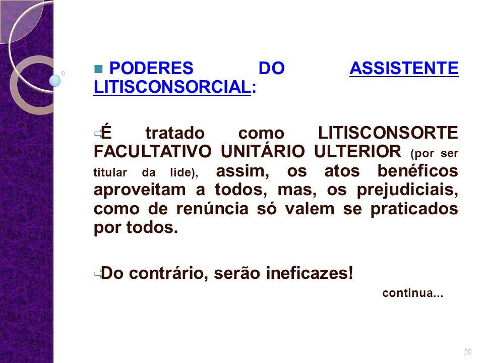 PODERES DO ASSISTENTE LITISCONSORCIAL:  É tratado como LITISCONSORTE FACULTATIVO UNITÁRIO ULTERIOR (por ser titular da lide), assim, os atos benéfico