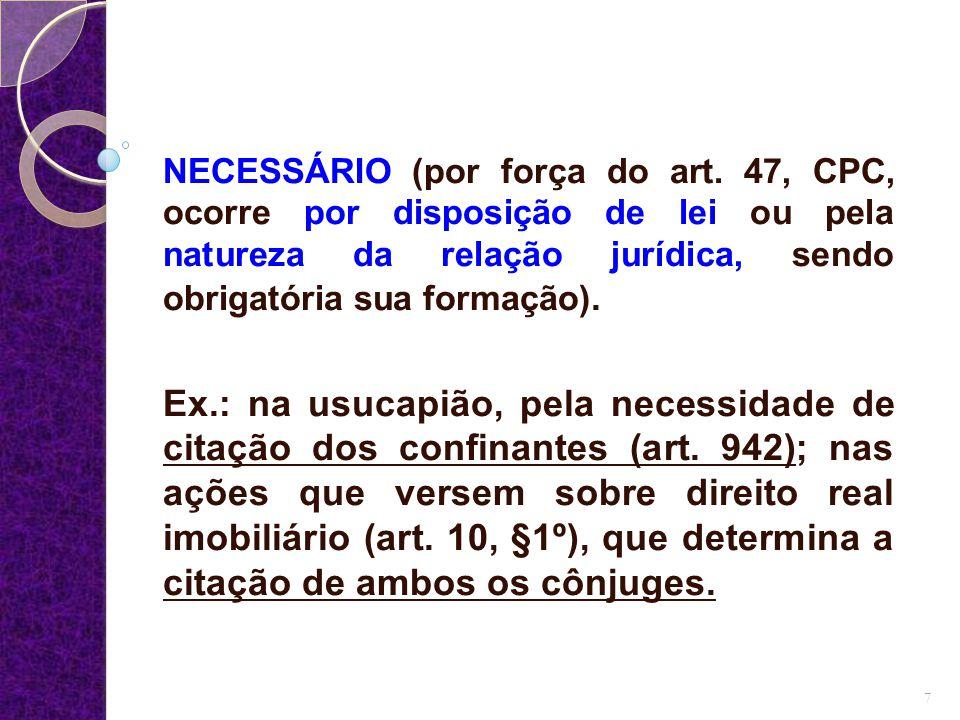 d) Quanto aos efeitos da decisão: SIMPLES (quando o juiz puder decidir de forma diferenciada para cada litisconsorte).