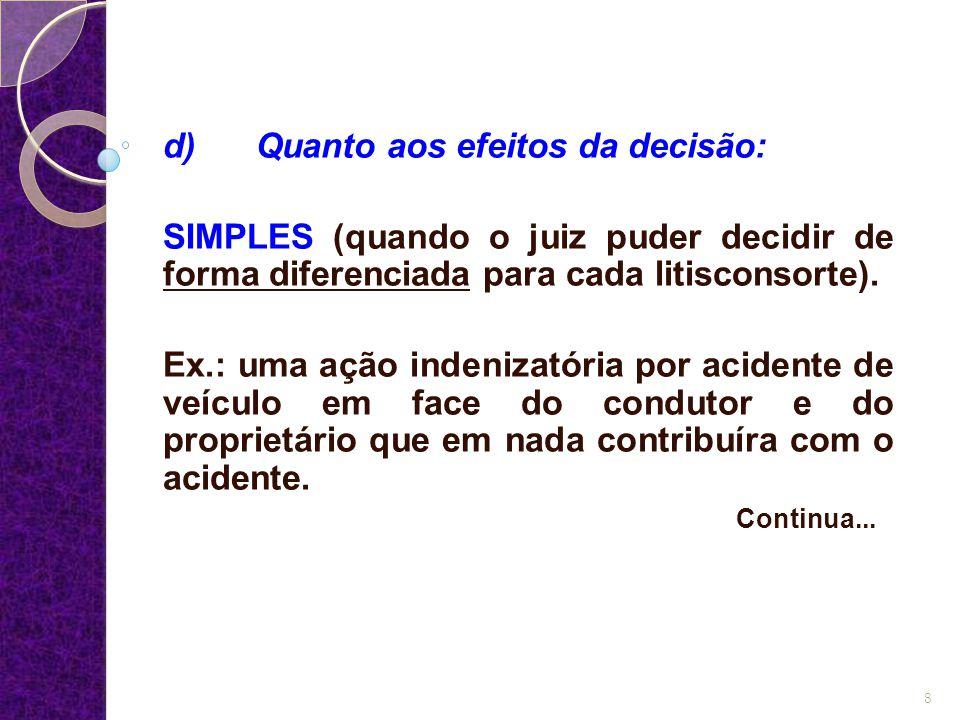 d) Quanto aos efeitos da decisão: SIMPLES (quando o juiz puder decidir de forma diferenciada para cada litisconsorte). Ex.: uma ação indenizatória por