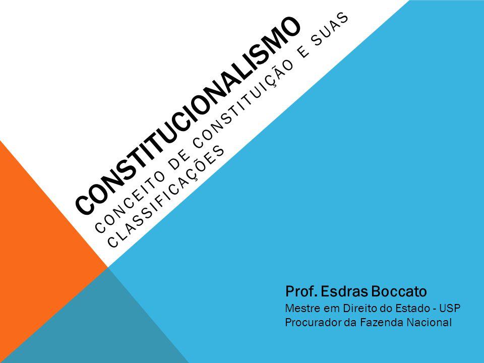 CONSTITUCIONALISMO CONCEITO DE CONSTITUIÇÃO E SUAS CLASSIFICAÇÕES Prof. Esdras Boccato Mestre em Direito do Estado - USP Procurador da Fazenda Naciona