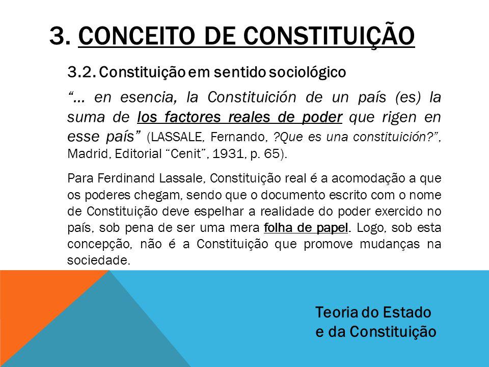 """3. CONCEITO DE CONSTITUIÇÃO 3.2. Constituição em sentido sociológico """"... en esencia, la Constituición de un país (es) la suma de los factores reales"""