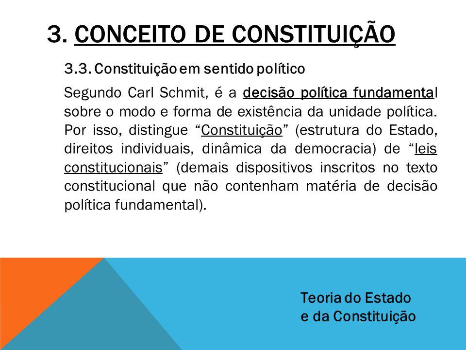 3. CONCEITO DE CONSTITUIÇÃO 3.3. Constituição em sentido político Segundo Carl Schmit, é a decisão política fundamental sobre o modo e forma de existê