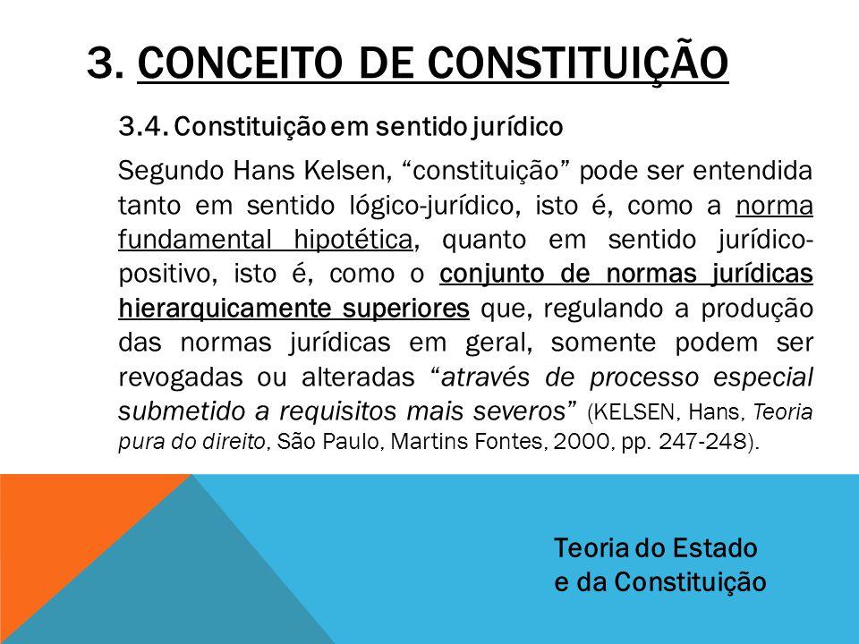"""3. CONCEITO DE CONSTITUIÇÃO 3.4. Constituição em sentido jurídico Segundo Hans Kelsen, """"constituição"""" pode ser entendida tanto em sentido lógico-juríd"""