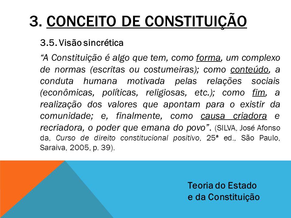 """3. CONCEITO DE CONSTITUIÇÃO 3.5. Visão sincrética """"A Constituição é algo que tem, como forma, um complexo de normas (escritas ou costumeiras); como co"""