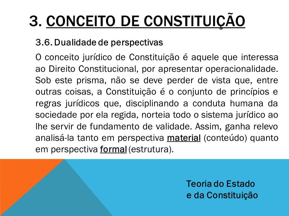 3. CONCEITO DE CONSTITUIÇÃO 3.6. Dualidade de perspectivas O conceito jurídico de Constituição é aquele que interessa ao Direito Constitucional, por a