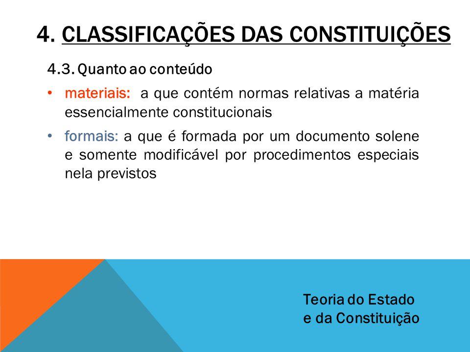 4. CLASSIFICAÇÕES DAS CONSTITUIÇÕES 4.3. Quanto ao conteúdo materiais: a que contém normas relativas a matéria essencialmente constitucionais formais: