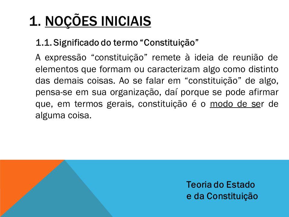 """1. NOÇÕES INICIAIS 1.1. Significado do termo """"Constituição"""" A expressão """"constituição"""" remete à ideia de reunião de elementos que formam ou caracteriz"""