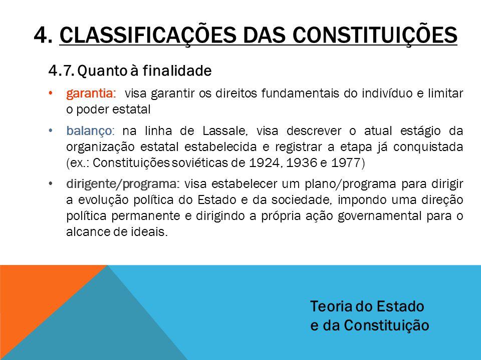 4. CLASSIFICAÇÕES DAS CONSTITUIÇÕES 4.7. Quanto à finalidade garantia: visa garantir os direitos fundamentais do indivíduo e limitar o poder estatal b