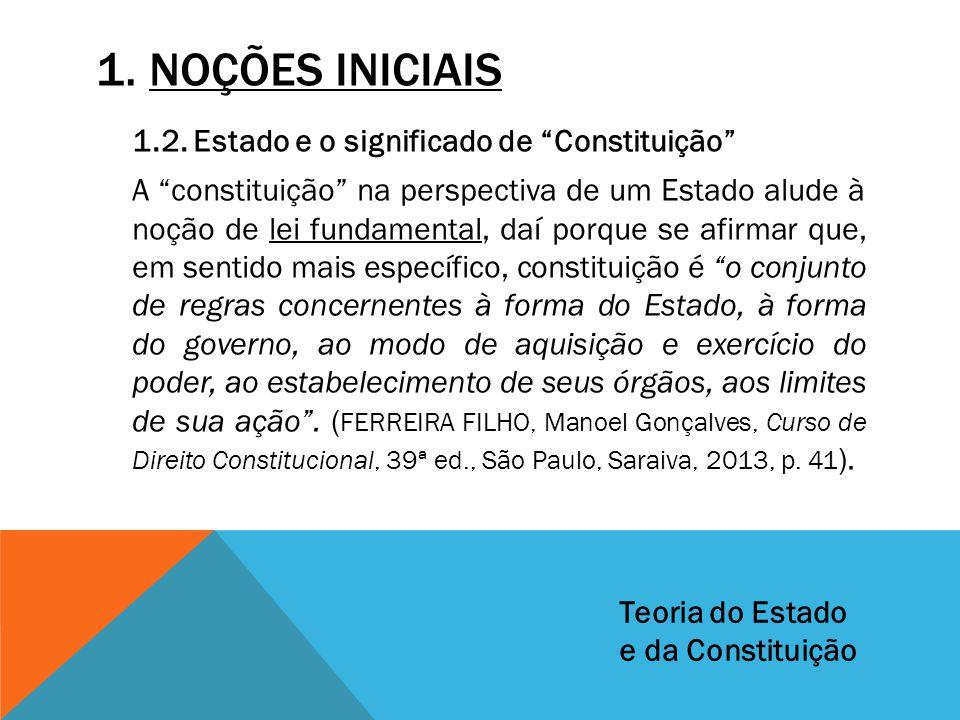 """1. NOÇÕES INICIAIS 1.2. Estado e o significado de """"Constituição"""" A """"constituição"""" na perspectiva de um Estado alude à noção de lei fundamental, daí po"""