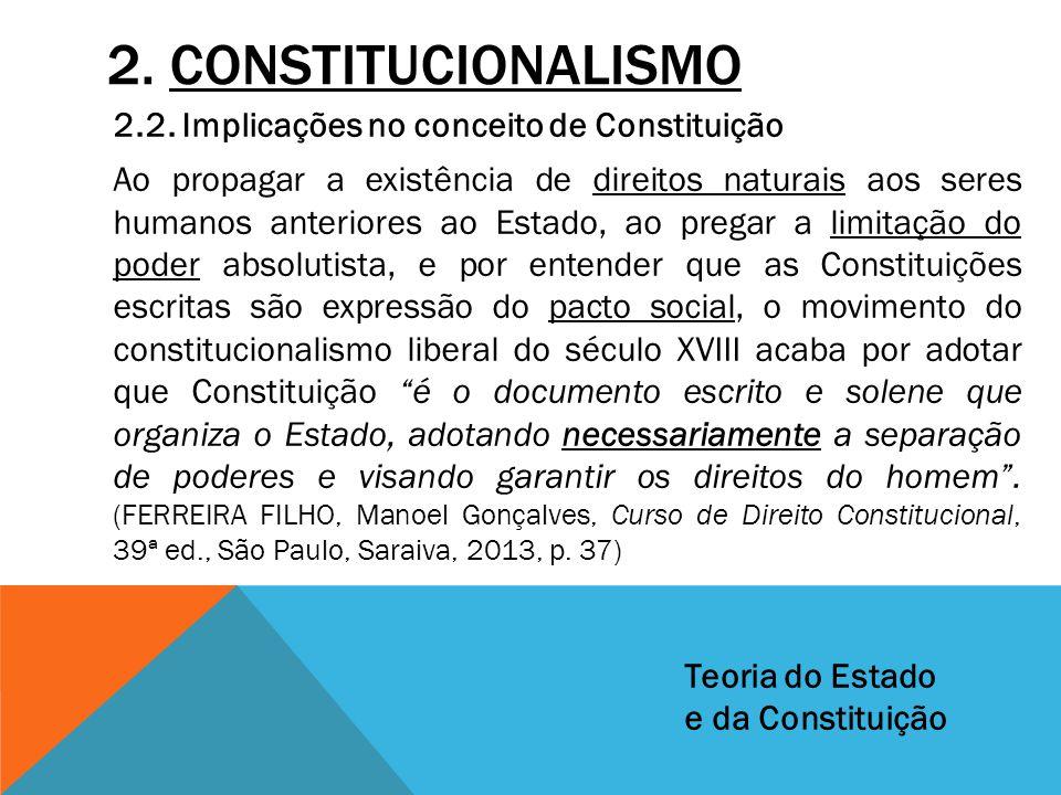 2. CONSTITUCIONALISMO 2.2. Implicações no conceito de Constituição Ao propagar a existência de direitos naturais aos seres humanos anteriores ao Estad