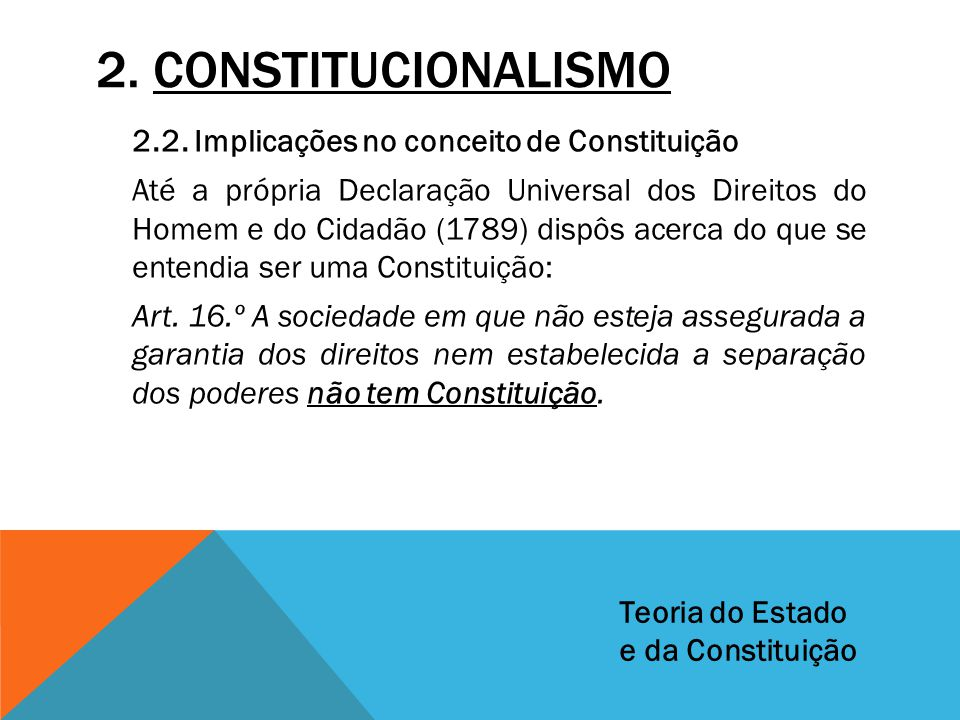 2. CONSTITUCIONALISMO 2.2. Implicações no conceito de Constituição Até a própria Declaração Universal dos Direitos do Homem e do Cidadão (1789) dispôs