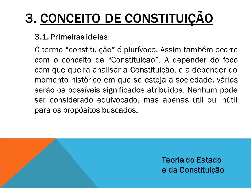 """3. CONCEITO DE CONSTITUIÇÃO 3.1. Primeiras ideias O termo """"constituição"""" é plurívoco. Assim também ocorre com o conceito de """"Constituição"""". A depender"""