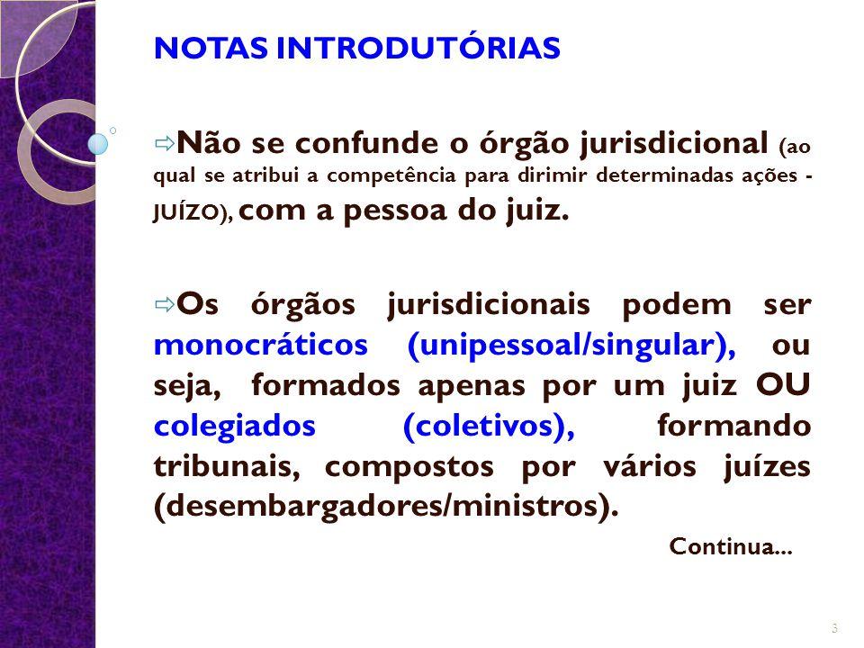 NOTAS INTRODUTÓRIAS  Não se confunde o órgão jurisdicional (ao qual se atribui a competência para dirimir determinadas ações - JUÍZO), com a pessoa d