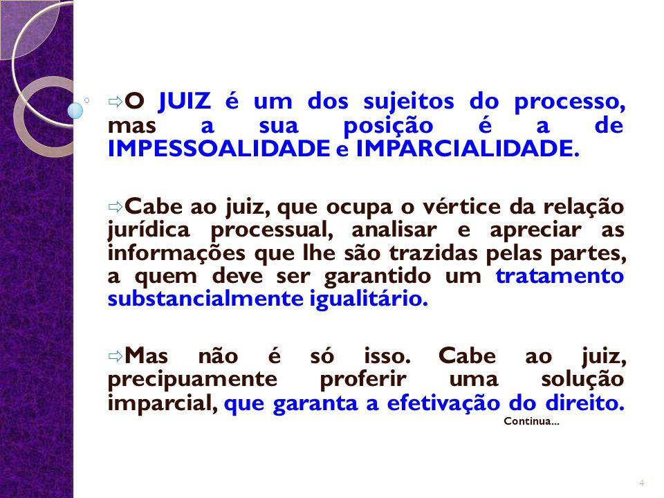  O JUIZ é um dos sujeitos do processo, mas a sua posição é a de IMPESSOALIDADE e IMPARCIALIDADE.  Cabe ao juiz, que ocupa o vértice da relação juríd