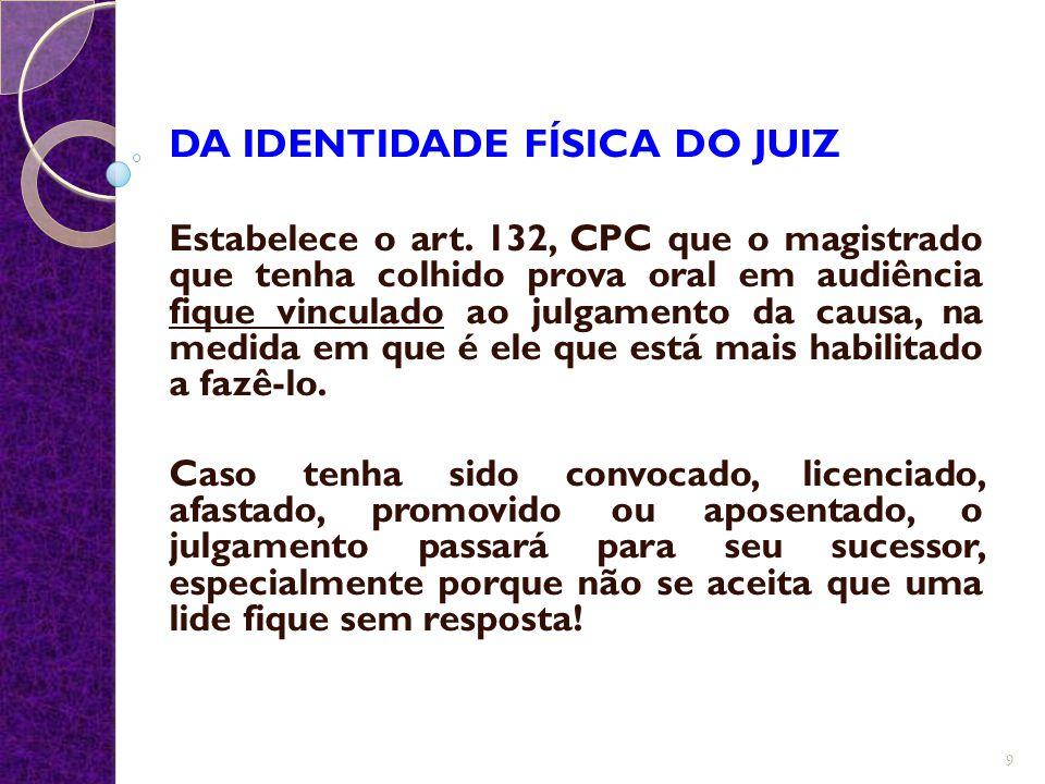 DA IDENTIDADE FÍSICA DO JUIZ Estabelece o art. 132, CPC que o magistrado que tenha colhido prova oral em audiência fique vinculado ao julgamento da ca