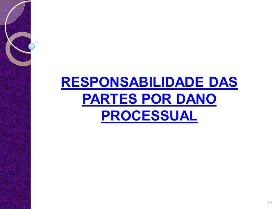 RESPONSABILIDADE DAS PARTES POR DANO PROCESSUAL 10