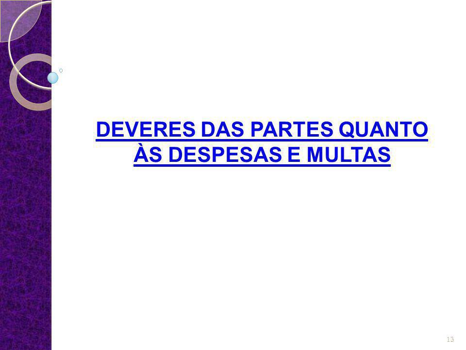 DEVERES DAS PARTES QUANTO ÀS DESPESAS E MULTAS 13