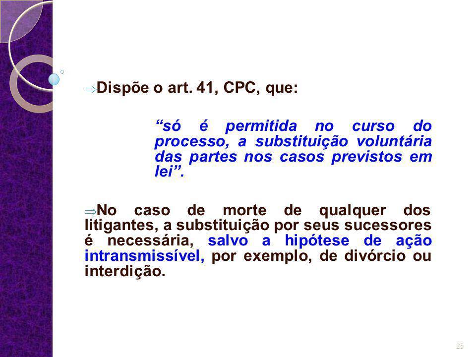 """ Dispõe o art. 41, CPC, que: """"só é permitida no curso do processo, a substituição voluntária das partes nos casos previstos em lei"""".  No caso de mor"""