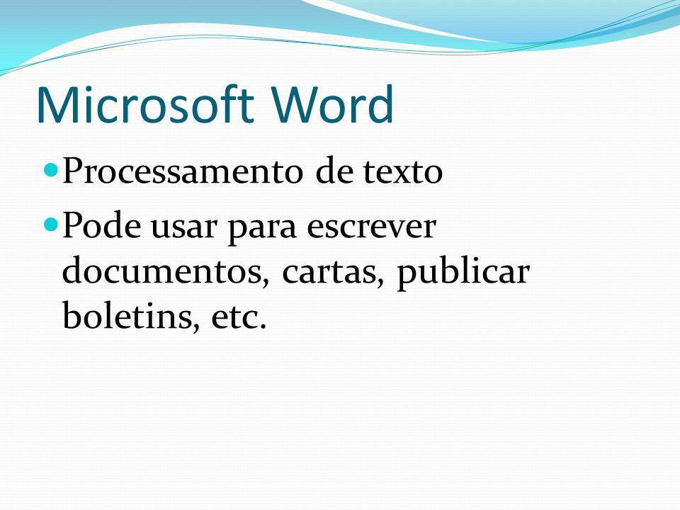 Microsoft Word Processamento de texto Pode usar para escrever documentos, cartas, publicar boletins, etc.