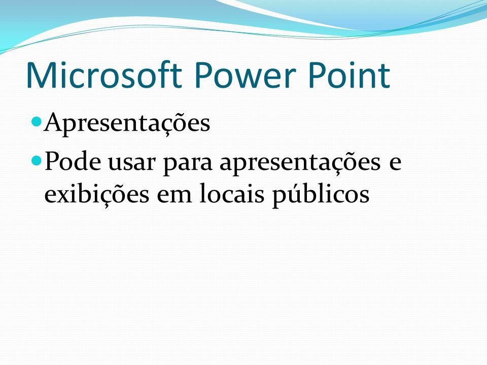 Microsoft Power Point Apresentações Pode usar para apresentações e exibições em locais públicos