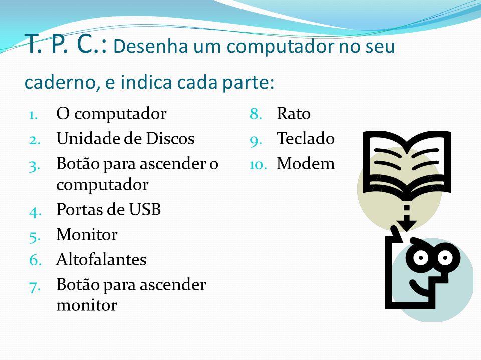 T. P. C.: Desenha um computador no seu caderno, e indica cada parte: 1. O computador 2. Unidade de Discos 3. Botão para ascender o computador 4. Porta