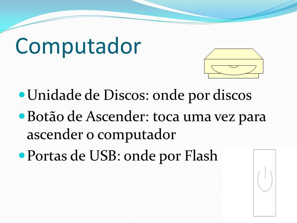 Computador Unidade de Discos: onde por discos Botão de Ascender: toca uma vez para ascender o computador Portas de USB: onde por Flash