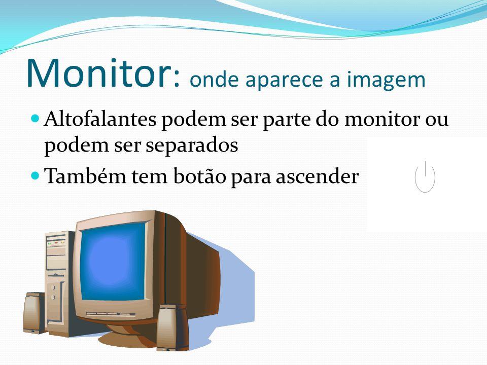 Monitor : onde aparece a imagem Altofalantes podem ser parte do monitor ou podem ser separados Também tem botão para ascender