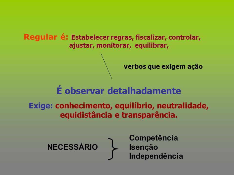 Regular é: Estabelecer regras, fiscalizar, controlar, ajustar, monitorar, equilibrar, É observar detalhadamente Exige: conhecimento, equilíbrio, neutr