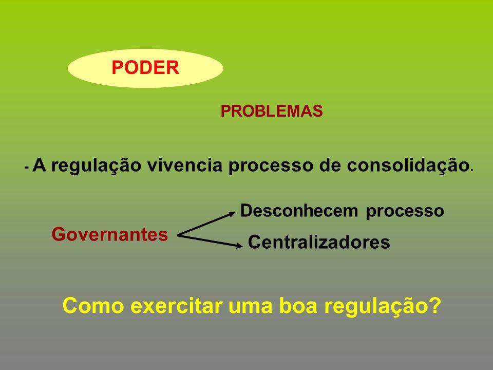 PODER PROBLEMAS - A regulação vivencia processo de consolidação. Governantes Desconhecem processo Centralizadores Como exercitar uma boa regulação?