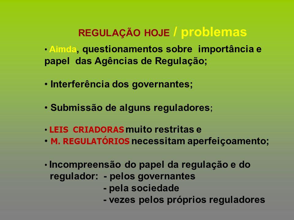 REGULAÇÃO HOJE / problemas Aimda, questionamentos sobre importância e papel das Agências de Regulação; Interferência dos governantes; Submissão de alg