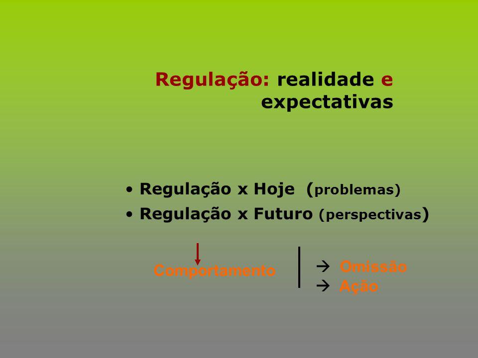 Regulação: realidade e expectativas Regulação x Hoje ( problemas) Regulação x Futuro (perspectivas ) Comportamento  Omissão  Ação