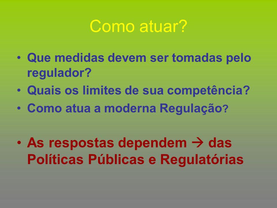 Como atuar? Que medidas devem ser tomadas pelo regulador? Quais os limites de sua competência? Como atua a moderna Regulação ? As respostas dependem 