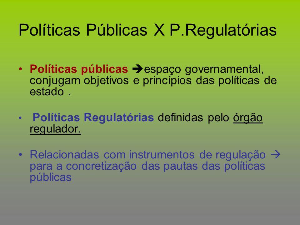 Políticas Públicas X P.Regulatórias Políticas públicas  espaço governamental, conjugam objetivos e princípios das políticas de estado. Políticas Regu